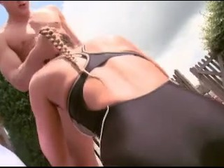 Busty babe licks black ass